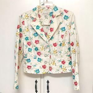 Think Tank Denim Jacket Cream colorful flowers